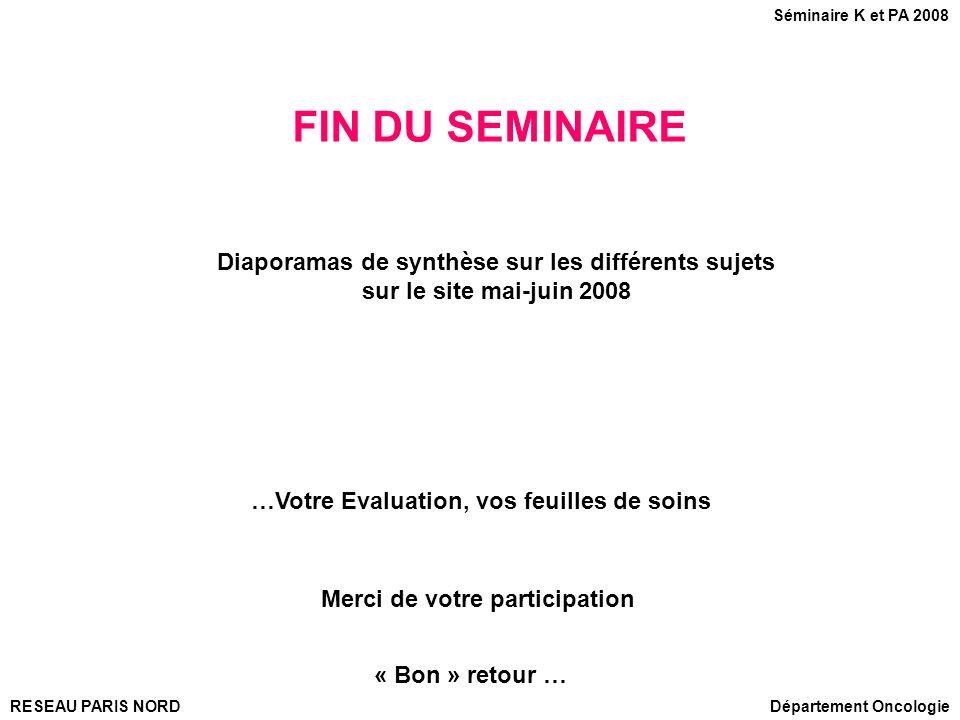 FIN DU SEMINAIRE …Votre Evaluation, vos feuilles de soins Diaporamas de synthèse sur les différents sujets sur le site mai-juin 2008 Merci de votre pa