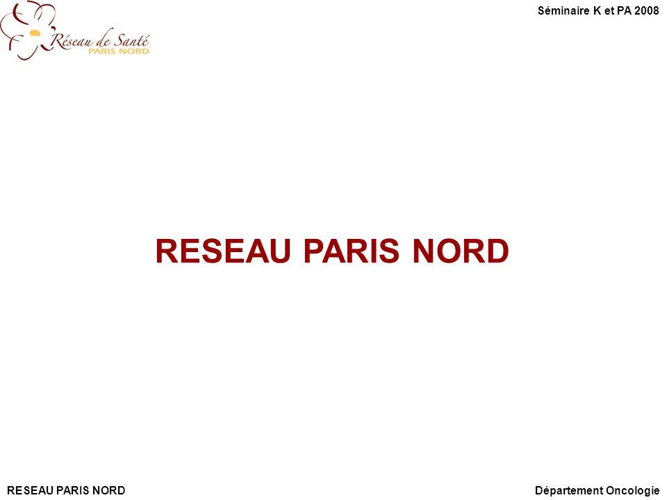 RESEAU PARIS NORD Département Oncologie Séminaire K et PA 2008