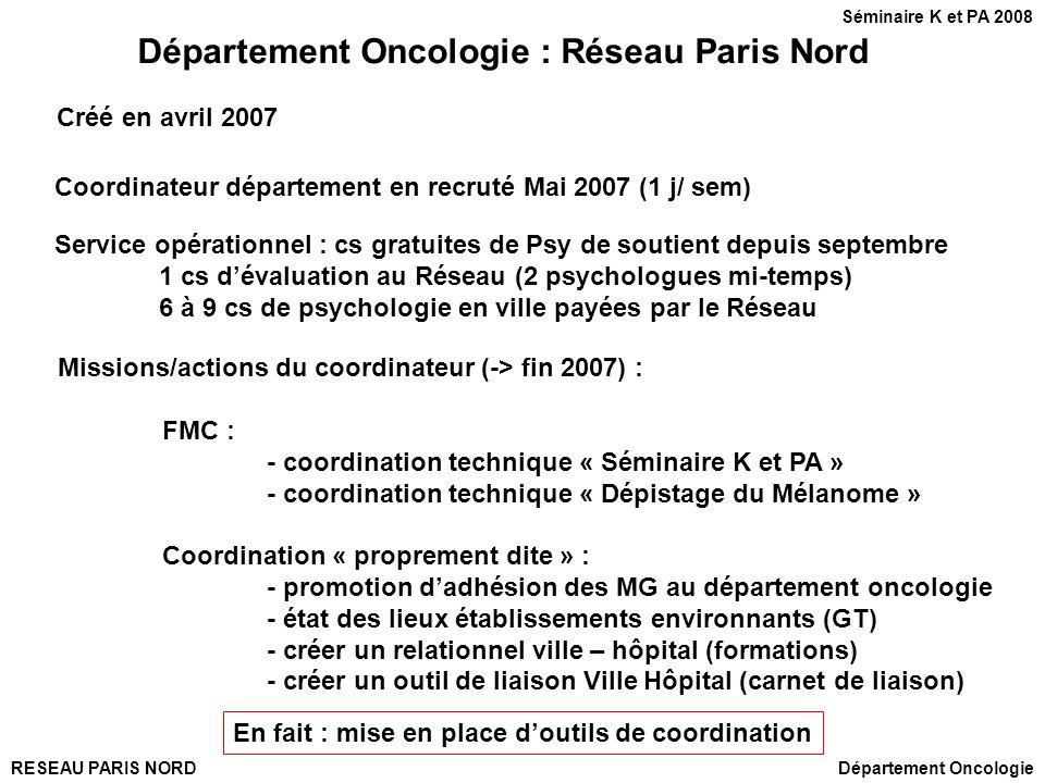 RESEAU PARIS NORD Département Oncologie : Réseau Paris Nord Missions/actions du coordinateur (-> fin 2007) : FMC : - coordination technique « Séminair