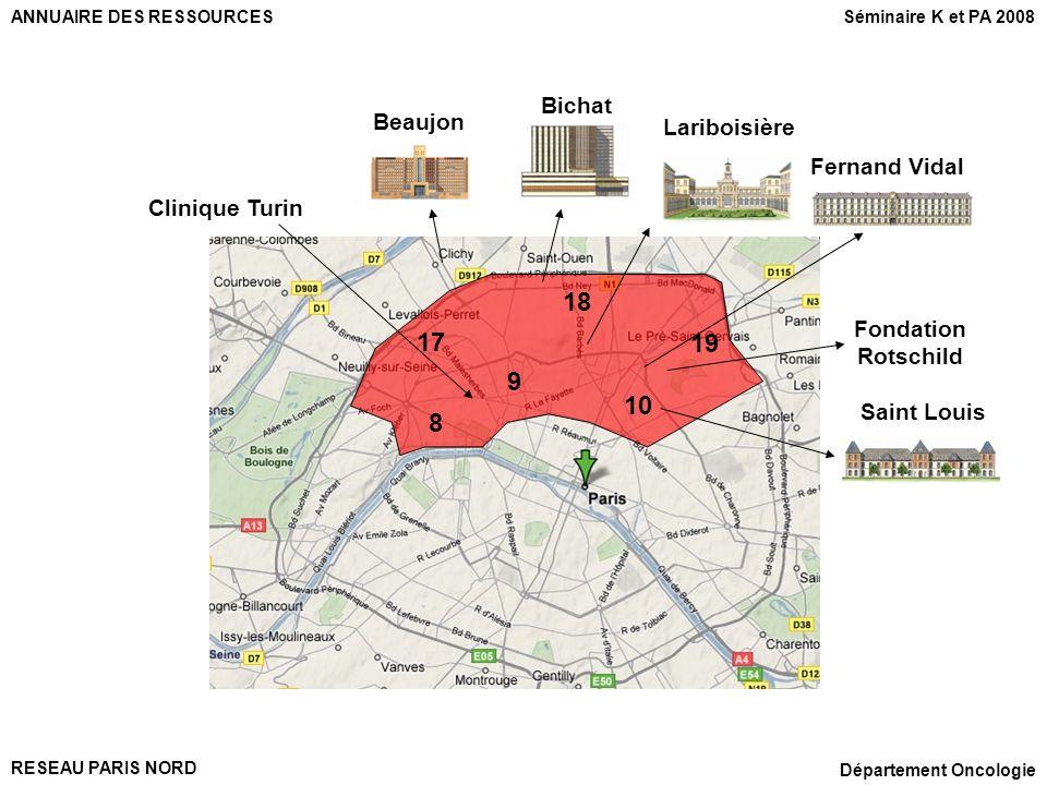 RESEAU PARIS NORD Département Oncologie 17 18 19 8 9 10 Saint Louis Fondation Rotschild Beaujon Bichat Fernand Vidal Lariboisière Clinique Turin ANNUA