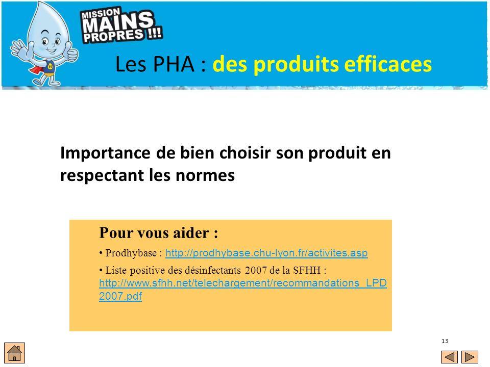 13 Les PHA : des produits efficaces Importance de bien choisir son produit en respectant les normes Pour vous aider : Prodhybase : http://prodhybase.c