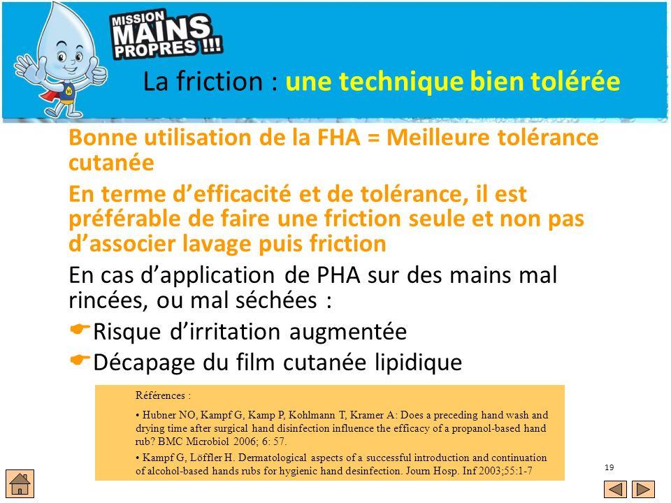 19 La friction : une technique bien tolérée Bonne utilisation de la FHA = Meilleure tolérance cutanée En terme defficacité et de tolérance, il est pré