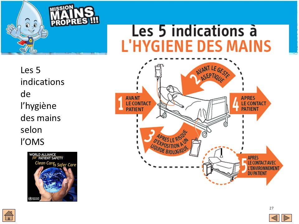 27 Les 5 indications de lhygiène des mains selon lOMS