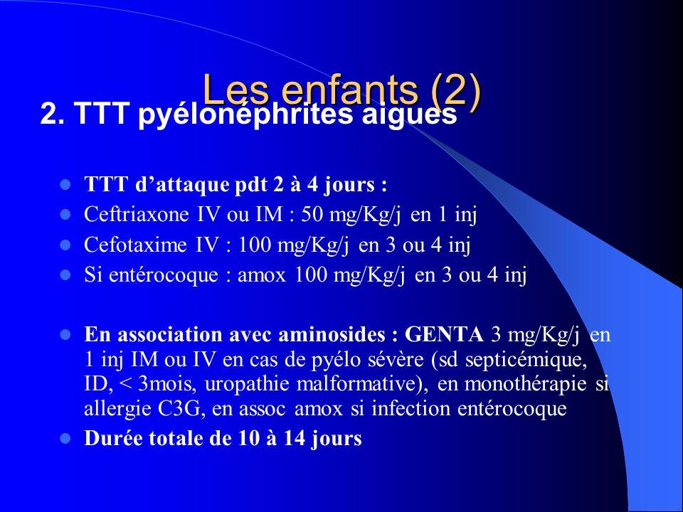 Les enfants (2) TTT dattaque pdt 2 à 4 jours : Ceftriaxone IV ou IM : 50 mg/Kg/j en 1 inj Cefotaxime IV : 100 mg/Kg/j en 3 ou 4 inj Si entérocoque : a
