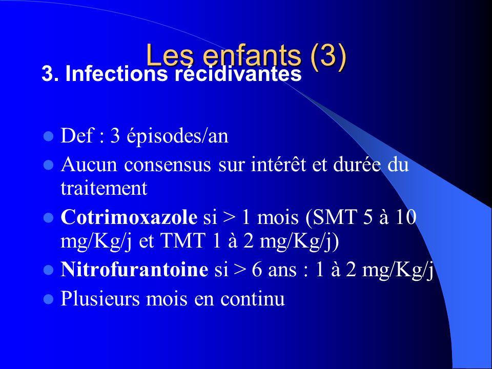 Les enfants (3) Def : 3 épisodes/an Aucun consensus sur intérêt et durée du traitement Cotrimoxazole si > 1 mois (SMT 5 à 10 mg/Kg/j et TMT 1 à 2 mg/K