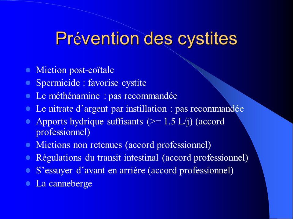 Pr é vention des cystites Miction post-coïtale Spermicide : favorise cystite Le méthénamine : pas recommandée Le nitrate dargent par instillation : pa