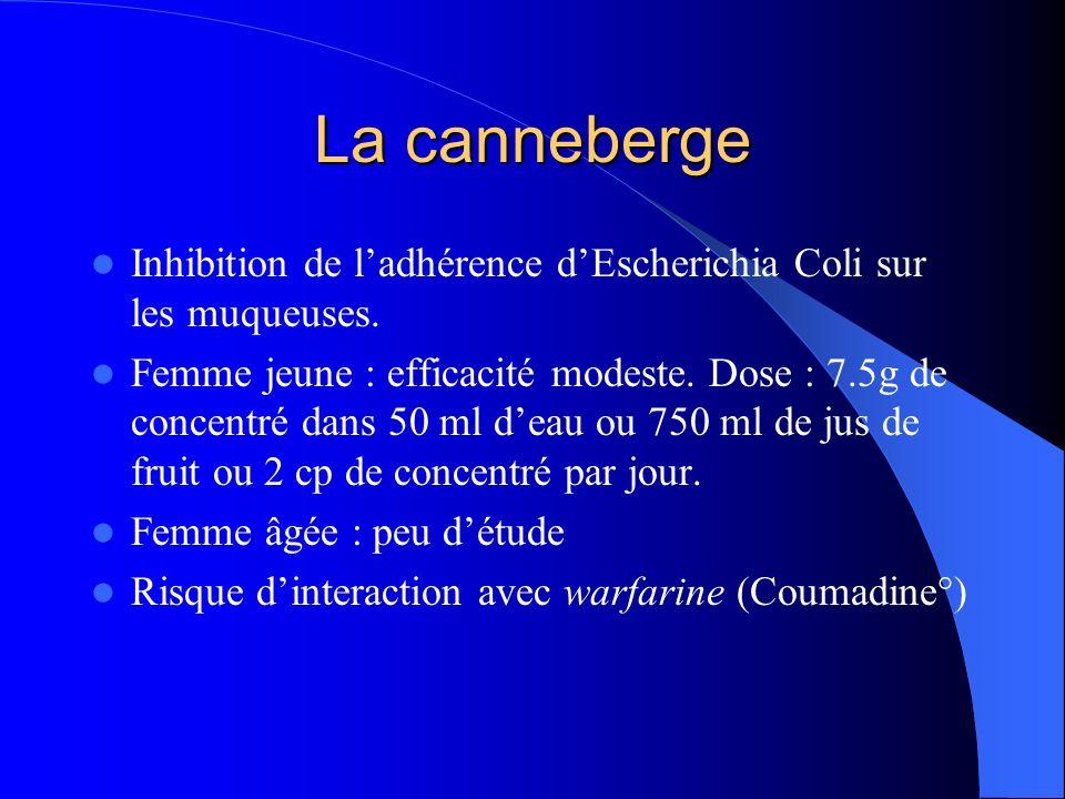 Inhibition de ladhérence dEscherichia Coli sur les muqueuses. Femme jeune : efficacité modeste. Dose : 7.5g de concentré dans 50 ml deau ou 750 ml de