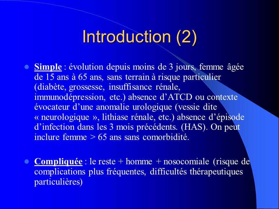 Introduction (2) Simple : évolution depuis moins de 3 jours, femme âgée de 15 ans à 65 ans, sans terrain à risque particulier (diabète, grossesse, ins