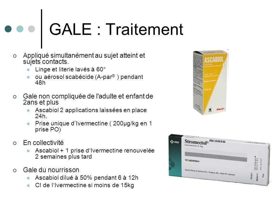 GALE : Traitement Appliqué simultanément au sujet atteint et sujets contacts. Linge et literie lavés à 60° ou aérosol scabécide (A-par ® ) pendant 48h