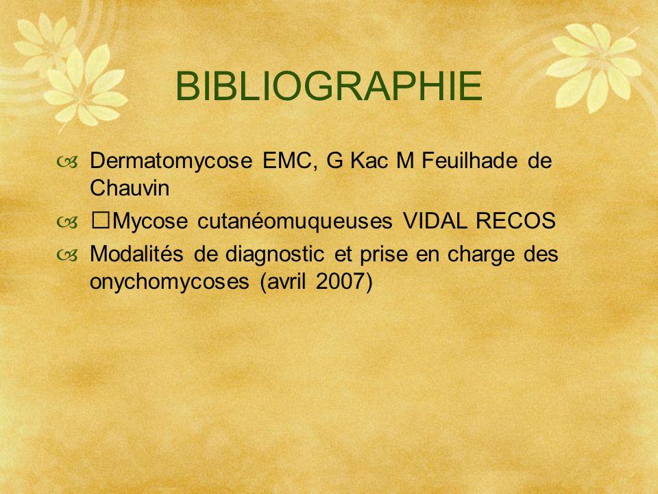 BIBLIOGRAPHIE Dermatomycose EMC, G Kac M Feuilhade de Chauvin Mycose cutanéomuqueuses VIDAL RECOS Modalités de diagnostic et prise en charge des onych