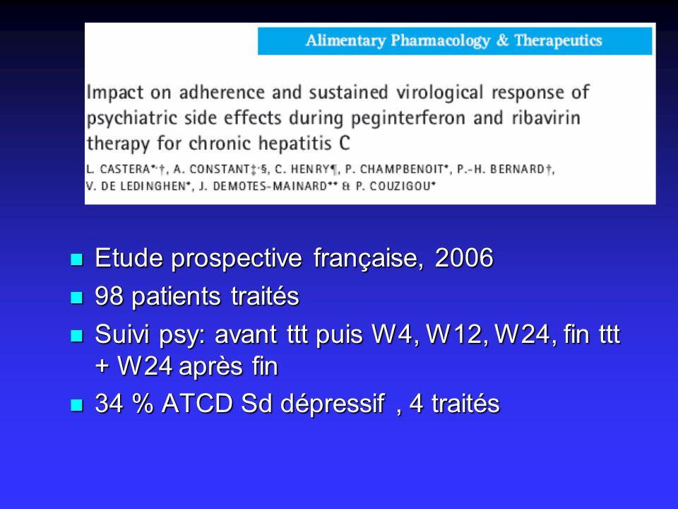 Etude prospective française, 2006 Etude prospective française, 2006 98 patients traités 98 patients traités Suivi psy: avant ttt puis W4, W12, W24, fi