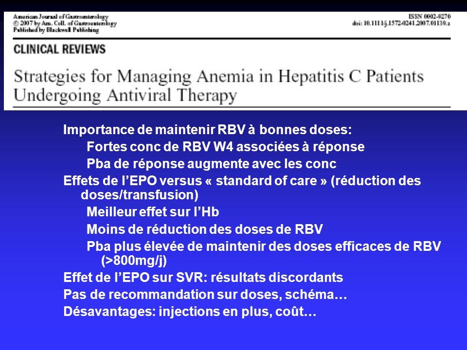 Importance de maintenir RBV à bonnes doses: Fortes conc de RBV W4 associées à réponse Pba de réponse augmente avec les conc Effets de lEPO versus « st