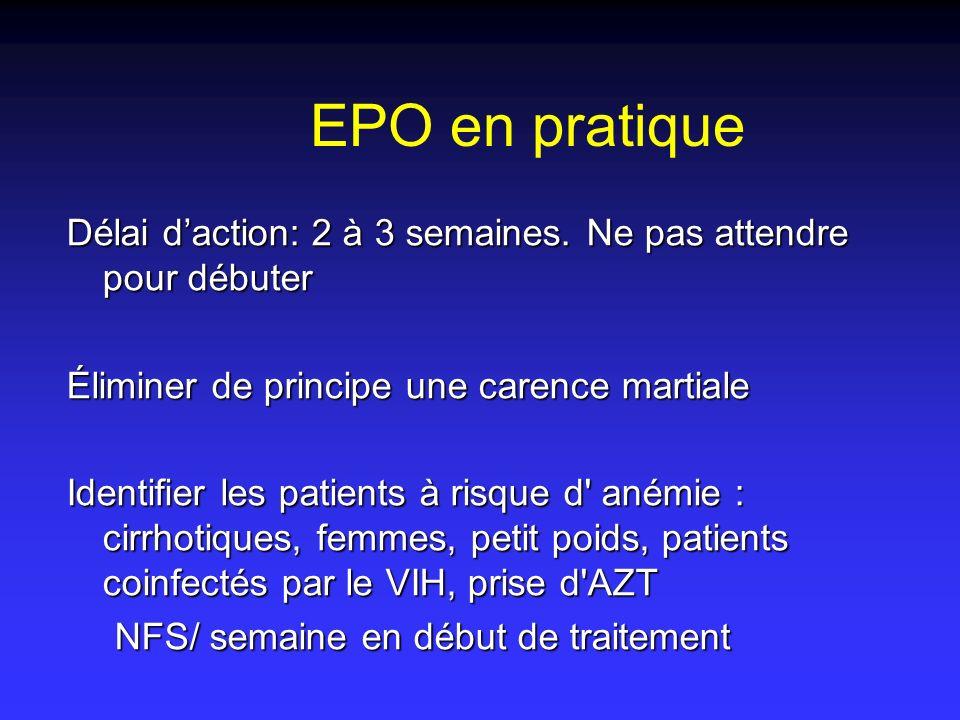 EPO en pratique Délai daction: 2 à 3 semaines. Ne pas attendre pour débuter Éliminer de principe une carence martiale Identifier les patients à risque