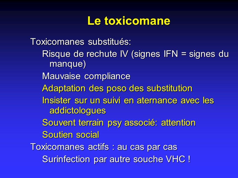 Toxicomanes substitués: Risque de rechute IV (signes IFN = signes du manque) Mauvaise compliance Adaptation des poso des substitution Insister sur un