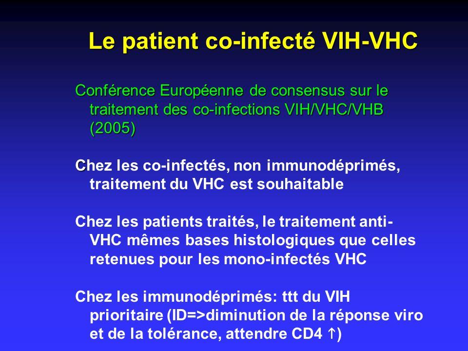 Conférence Européenne de consensus sur le traitement des co-infections VIH/VHC/VHB (2005) C Chez les co-infectés, non immunodéprimés, traitement du VH