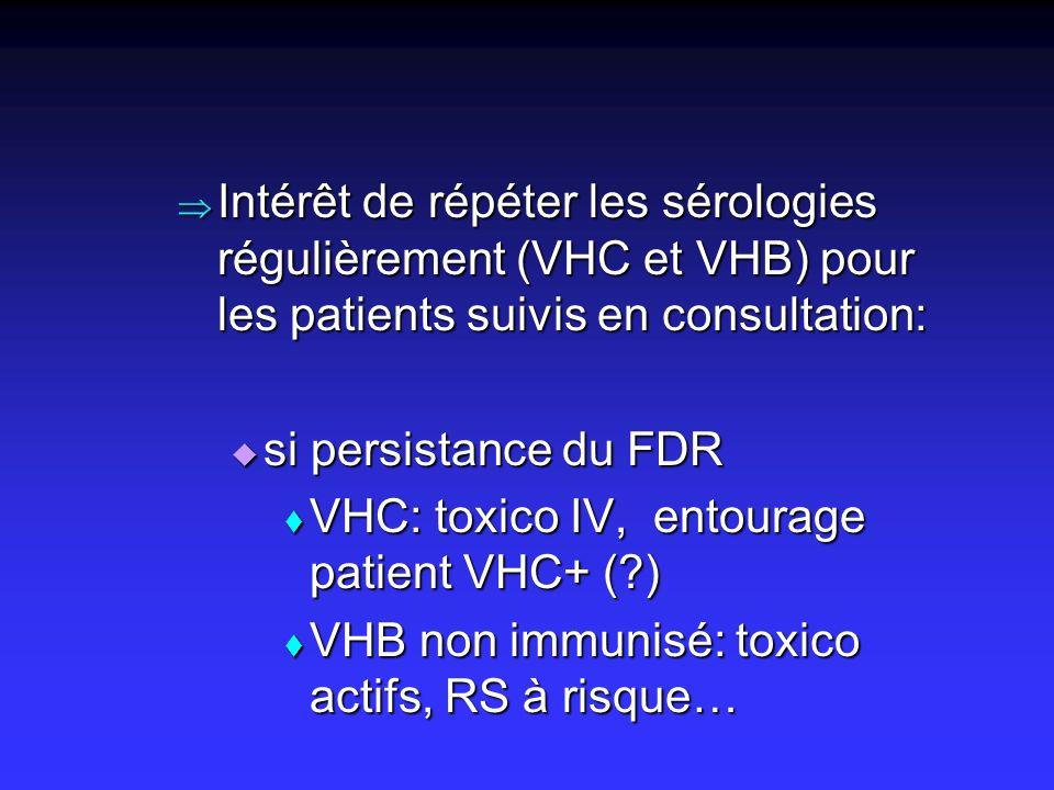 Intérêt de répéter les sérologies régulièrement (VHC et VHB) pour les patients suivis en consultation: Intérêt de répéter les sérologies régulièrement