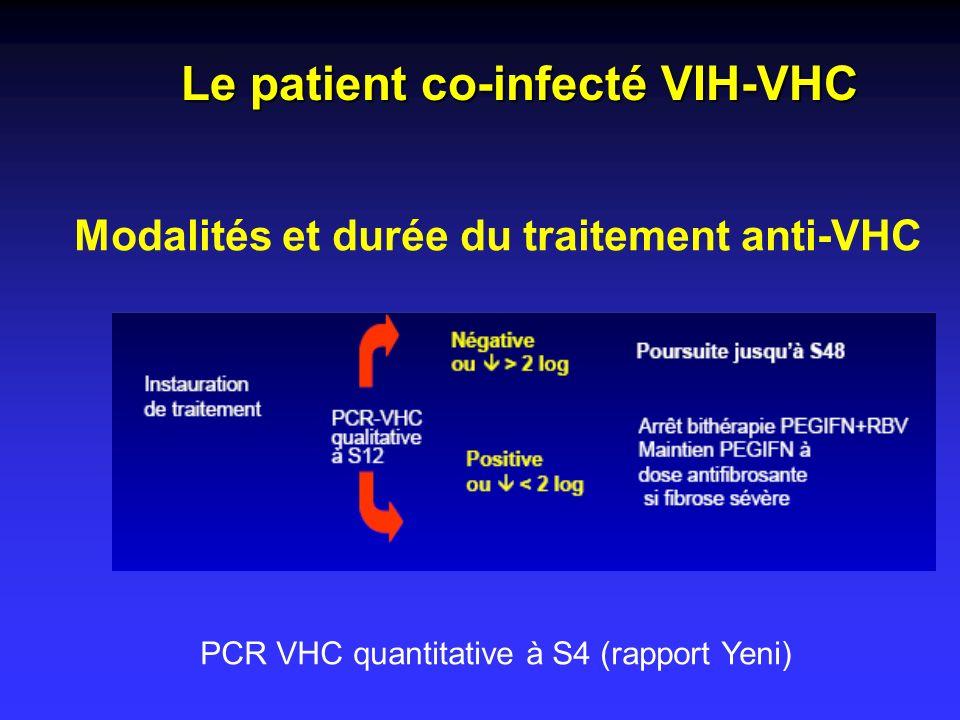 Modalités et durée du traitement anti-VHC Le patient co-infecté VIH-VHC PCR VHC quantitative à S4 (rapport Yeni)
