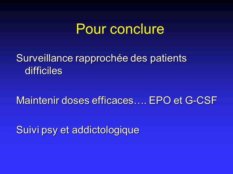 Pour conclure Surveillance rapprochée des patients difficiles Maintenir doses efficaces…. EPO et G-CSF Suivi psy et addictologique