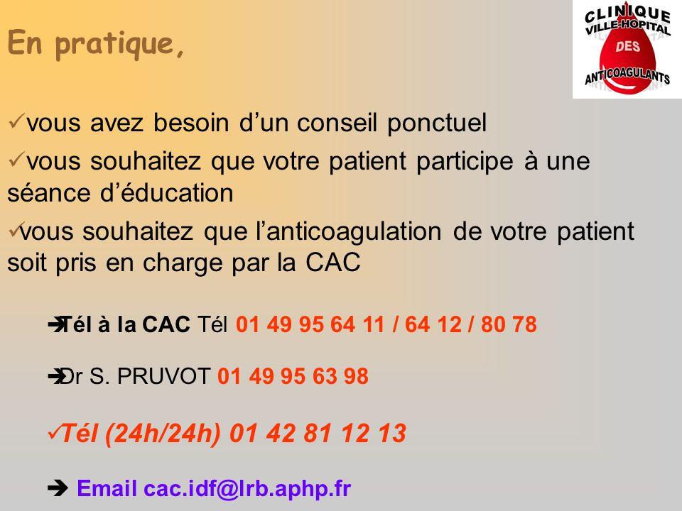 En pratique, vous avez besoin dun conseil ponctuel vous souhaitez que votre patient participe à une séance déducation vous souhaitez que lanticoagulat