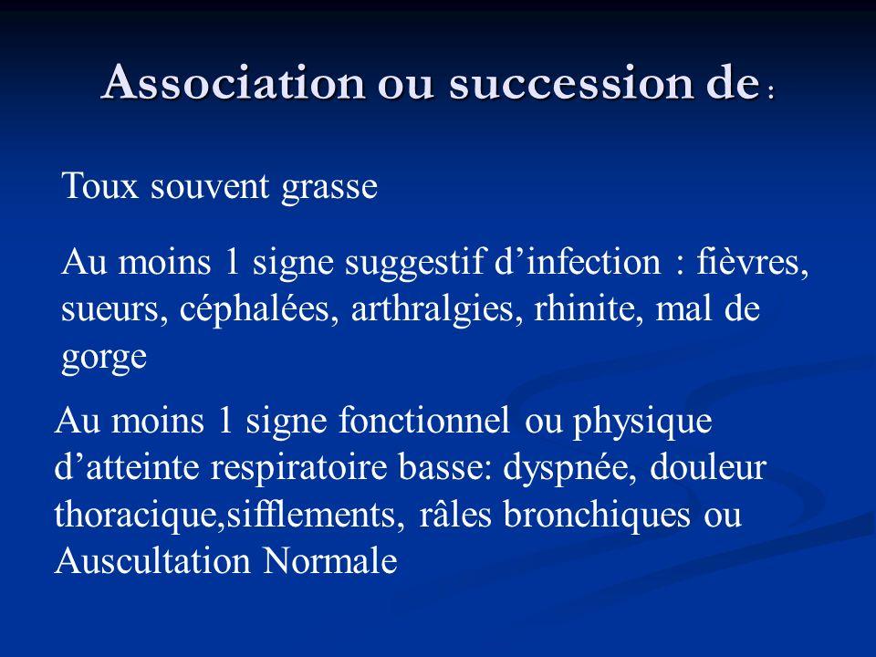 Association ou succession de : Toux souvent grasse Au moins 1 signe suggestif dinfection : fièvres, sueurs, céphalées, arthralgies, rhinite, mal de go