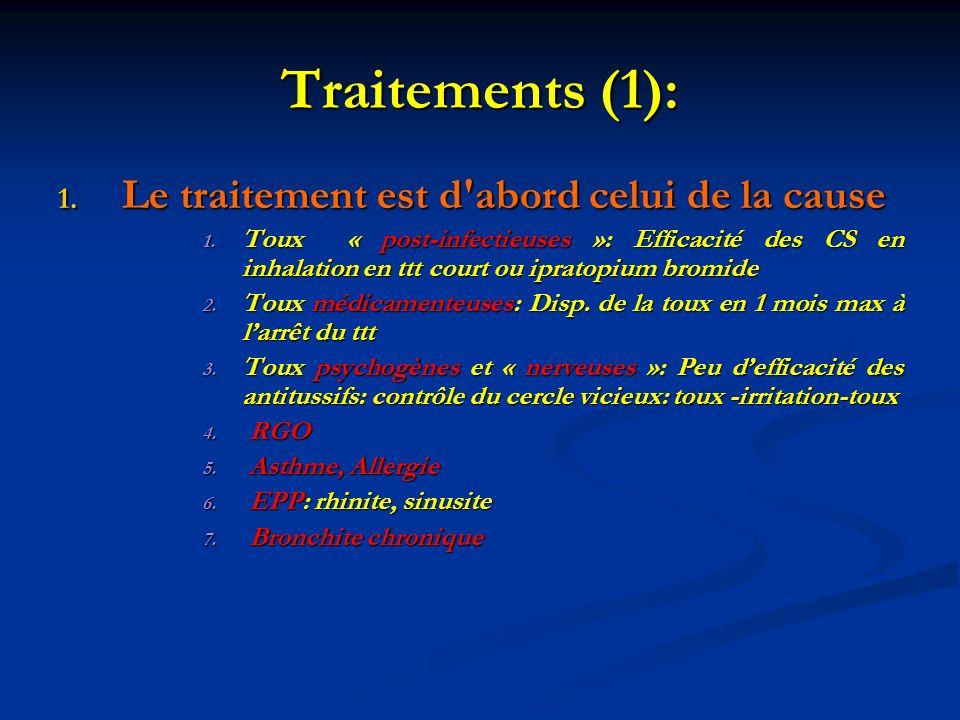 Traitements (1): 1. Le traitement est d'abord celui de la cause 1. Toux « post-infectieuses »: Efficacité des CS en inhalation en ttt court ou ipratop