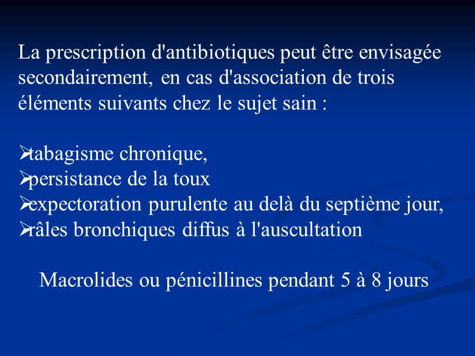 La prescription d'antibiotiques peut être envisagée secondairement, en cas d'association de trois éléments suivants chez le sujet sain : tabagisme chr
