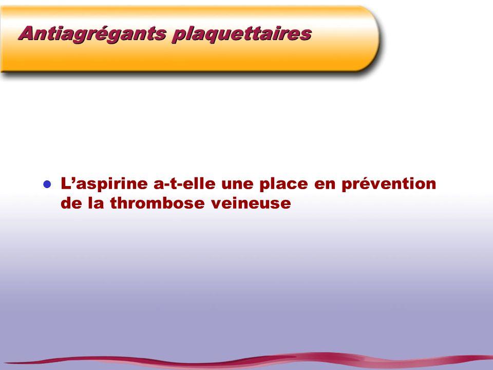 Antiagrégants plaquettaires l Laspirine a-t-elle une place en prévention de la thrombose veineuse