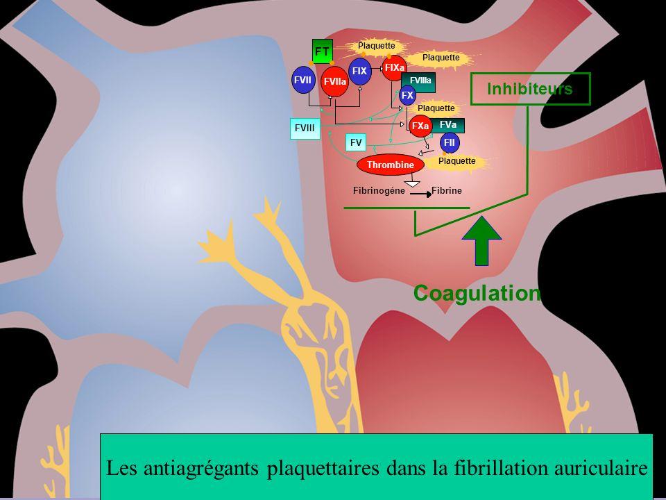 Inhibiteurs Coagulation FT Plaquette FVIII Plaquette FVa Fibrinogène Fibrine FVII FVIIa FIX FIXa FVIIIa FV FXa FII FX Plaquette Thrombine Les antiagré