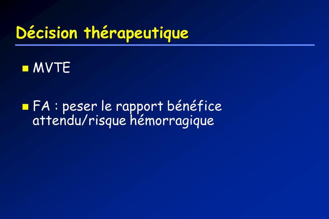 Décision thérapeutique MVTE FA : peser le rapport bénéfice attendu/risque hémorragique