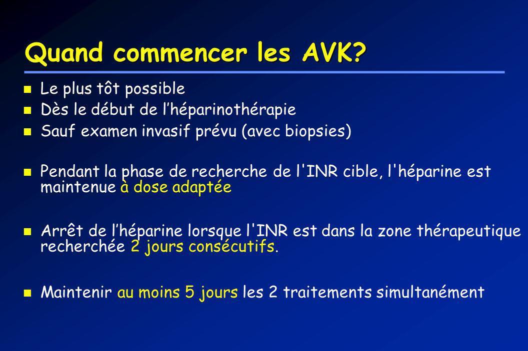 Quand commencer les AVK? Le plus tôt possible Dès le début de lhéparinothérapie Sauf examen invasif prévu (avec biopsies) Pendant la phase de recherch