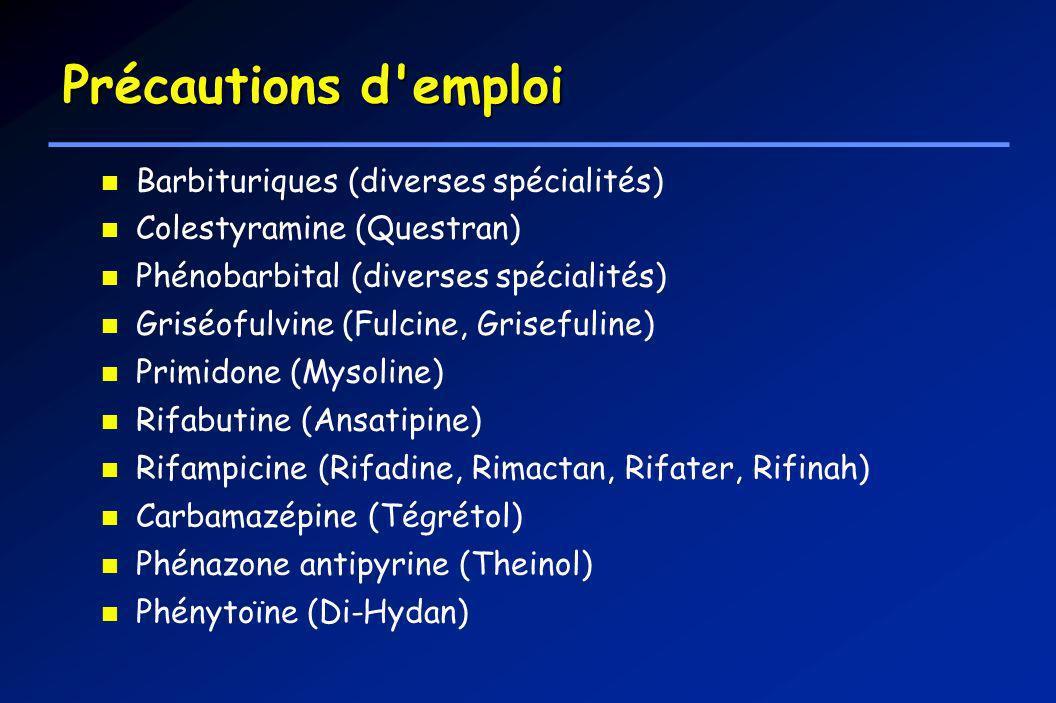 Barbituriques (diverses spécialités) Colestyramine (Questran) Phénobarbital (diverses spécialités) Griséofulvine (Fulcine, Grisefuline) Primidone (Mys