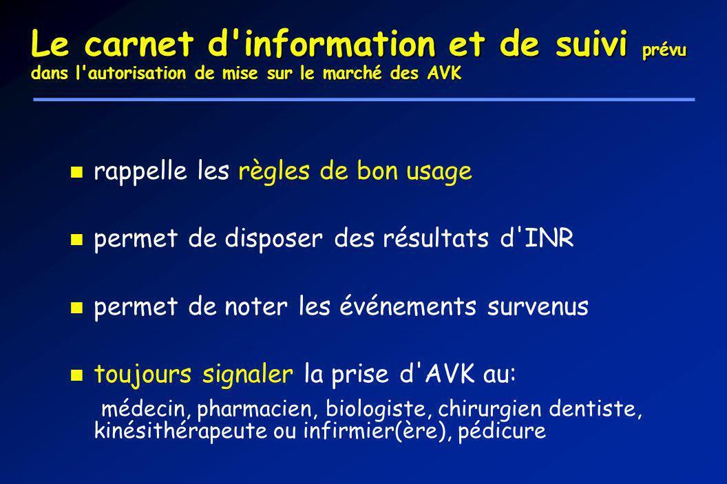 Le carnet d'information et de suivi prévu dans l'autorisation de mise sur le marché des AVK rappelle les règles de bon usage permet de disposer des ré