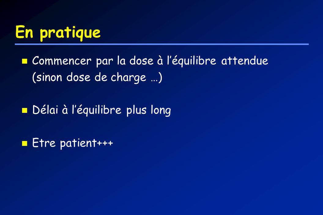 En pratique Commencer par la dose à léquilibre attendue (sinon dose de charge …) Délai à léquilibre plus long Etre patient+++