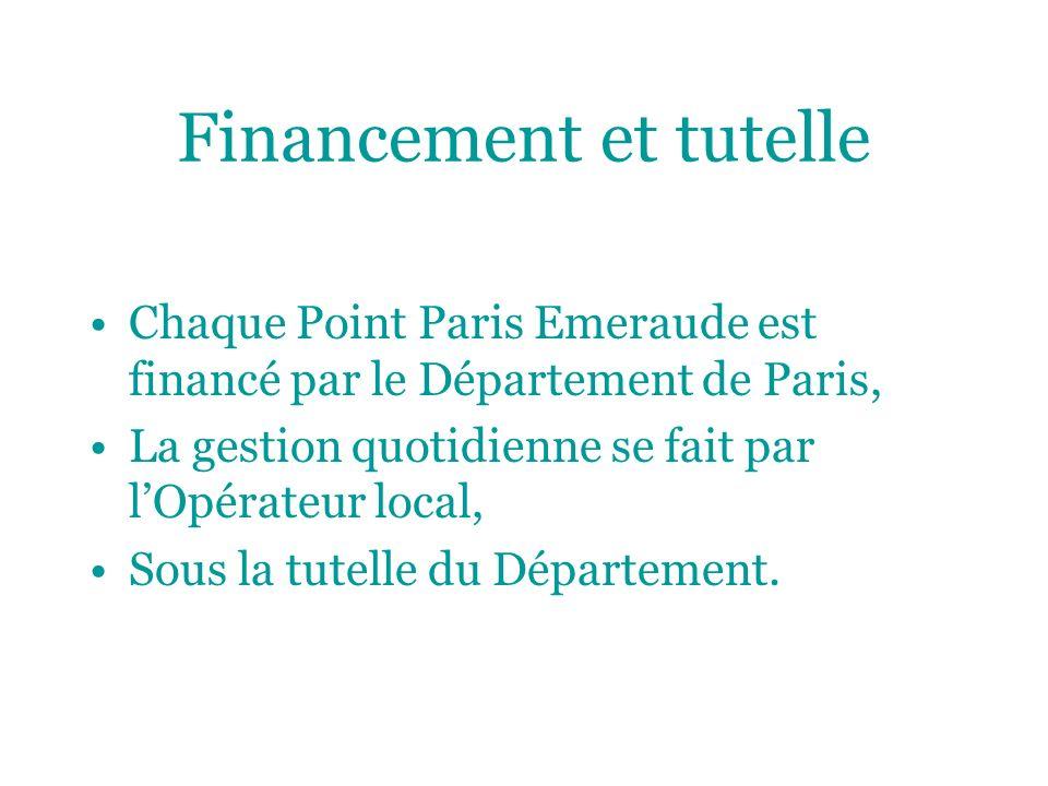 Financement et tutelle Chaque Point Paris Emeraude est financé par le Département de Paris, La gestion quotidienne se fait par lOpérateur local, Sous la tutelle du Département.