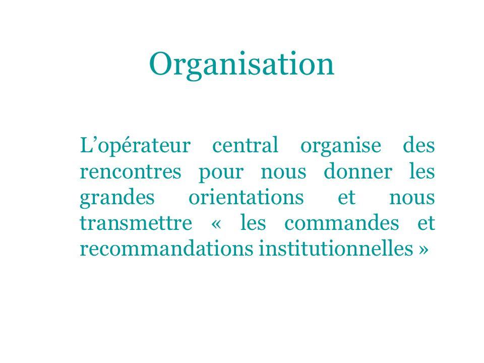 Organisation Lopérateur central organise des rencontres pour nous donner les grandes orientations et nous transmettre « les commandes et recommandations institutionnelles »
