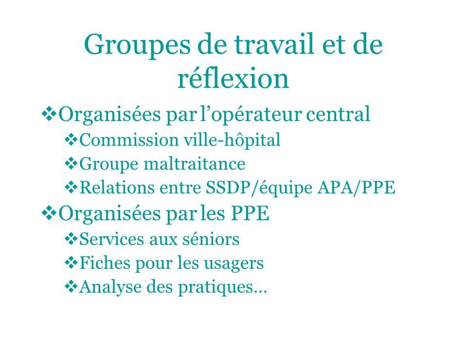 Groupes de travail et de réflexion Organisées par lopérateur central Commission ville-hôpital Groupe maltraitance Relations entre SSDP/équipe APA/PPE