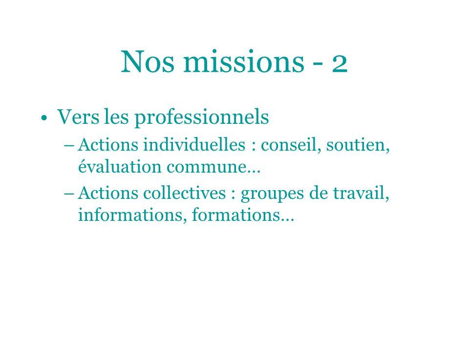 Nos missions - 2 Vers les professionnels –Actions individuelles : conseil, soutien, évaluation commune… –Actions collectives : groupes de travail, inf