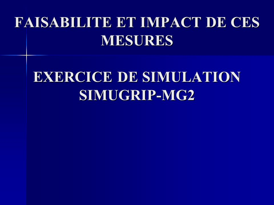 FAISABILITE ET IMPACT DE CES MESURES EXERCICE DE SIMULATION SIMUGRIP-MG2
