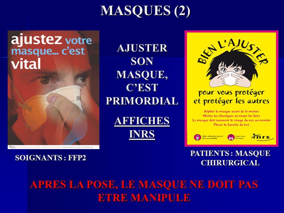 MASQUES (2) AJUSTER SON MASQUE, CEST PRIMORDIAL AFFICHES INRS SOIGNANTS : FFP2 PATIENTS : MASQUE CHIRURGICAL APRES LA POSE, LE MASQUE NE DOIT PAS ETRE MANIPULE