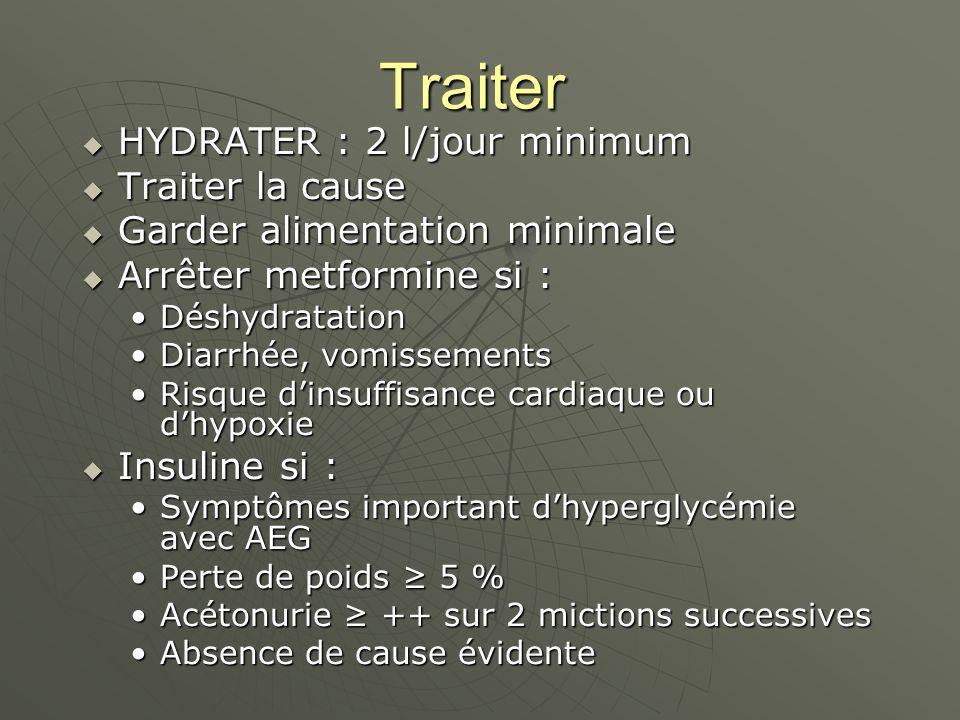Traiter HYDRATER : 2 l/jour minimum HYDRATER : 2 l/jour minimum Traiter la cause Traiter la cause Garder alimentation minimale Garder alimentation minimale Arrêter metformine si : Arrêter metformine si : DéshydratationDéshydratation Diarrhée, vomissementsDiarrhée, vomissements Risque dinsuffisance cardiaque ou dhypoxieRisque dinsuffisance cardiaque ou dhypoxie Insuline si : Insuline si : Symptômes important dhyperglycémie avec AEGSymptômes important dhyperglycémie avec AEG Perte de poids 5 %Perte de poids 5 % Acétonurie ++ sur 2 mictions successivesAcétonurie ++ sur 2 mictions successives Absence de cause évidenteAbsence de cause évidente