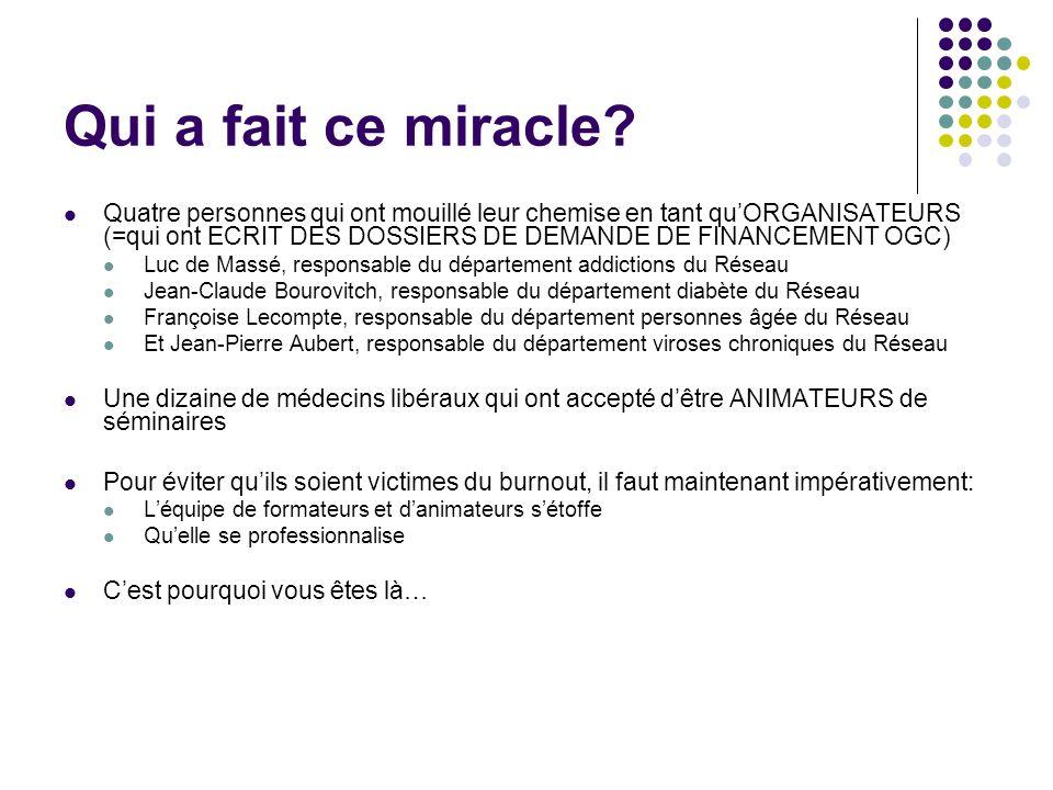 Qui a fait ce miracle? Quatre personnes qui ont mouillé leur chemise en tant quORGANISATEURS (=qui ont ECRIT DES DOSSIERS DE DEMANDE DE FINANCEMENT OG