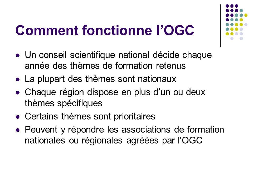 Comment fonctionne lOGC Un conseil scientifique national décide chaque année des thèmes de formation retenus La plupart des thèmes sont nationaux Chaq