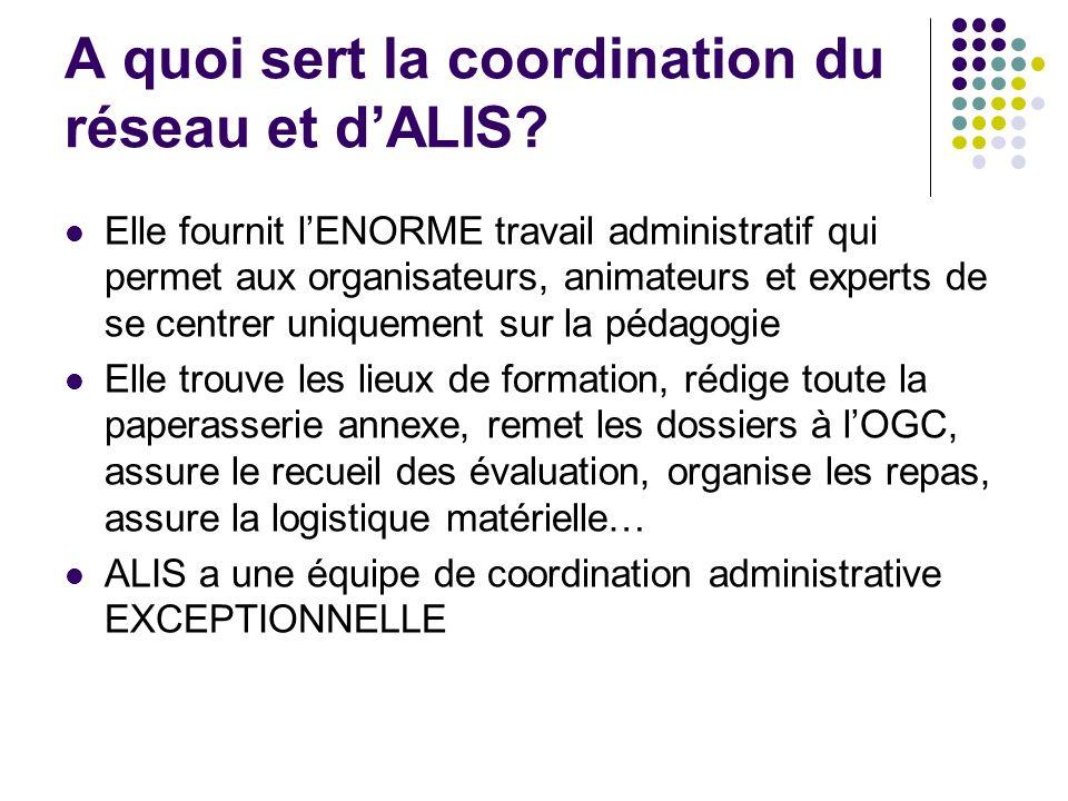 A quoi sert la coordination du réseau et dALIS? Elle fournit lENORME travail administratif qui permet aux organisateurs, animateurs et experts de se c