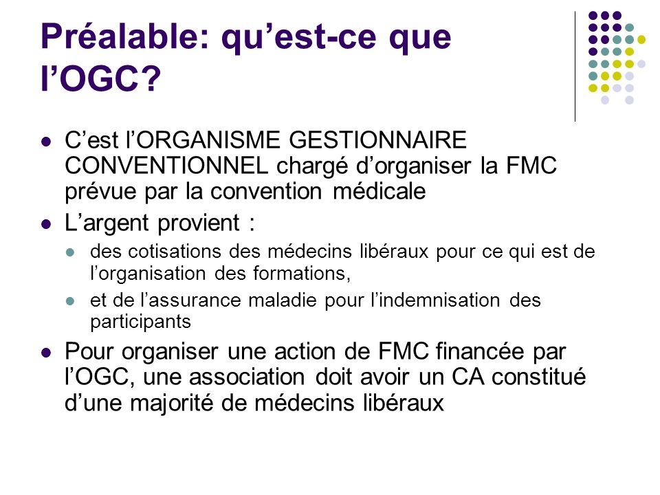 Préalable: quest-ce que lOGC? Cest lORGANISME GESTIONNAIRE CONVENTIONNEL chargé dorganiser la FMC prévue par la convention médicale Largent provient :