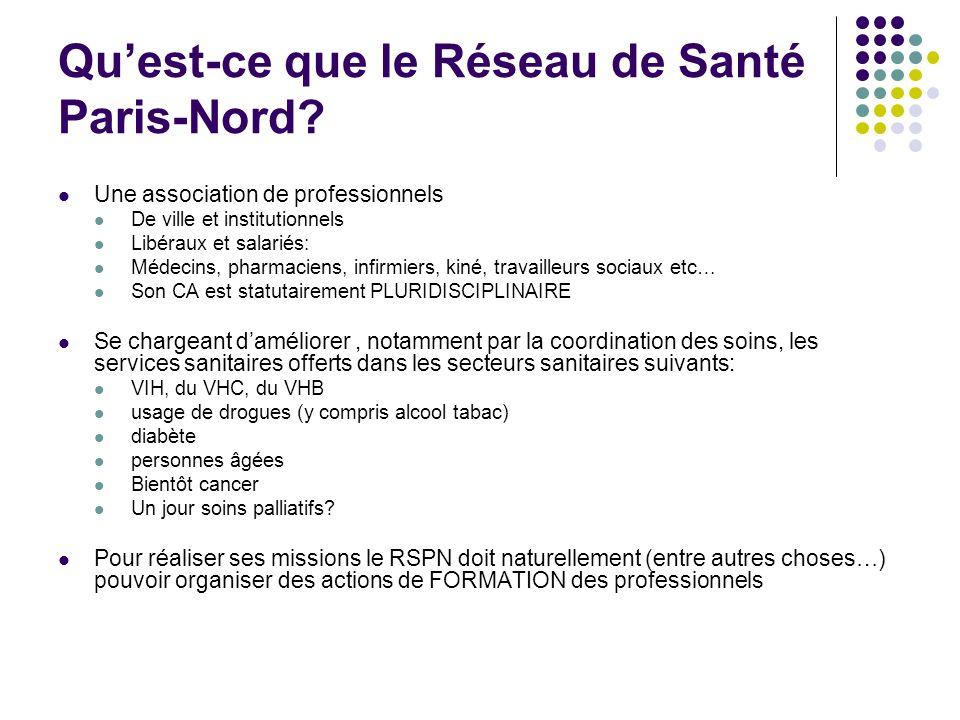 Quest-ce que le Réseau de Santé Paris-Nord? Une association de professionnels De ville et institutionnels Libéraux et salariés: Médecins, pharmaciens,