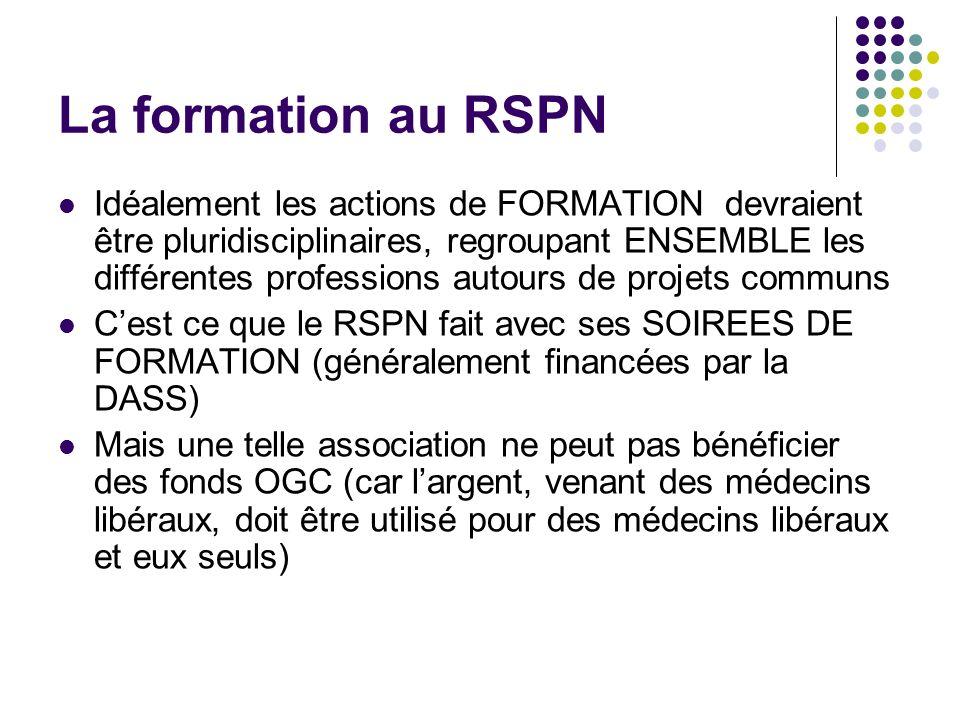 La formation au RSPN Idéalement les actions de FORMATION devraient être pluridisciplinaires, regroupant ENSEMBLE les différentes professions autours d