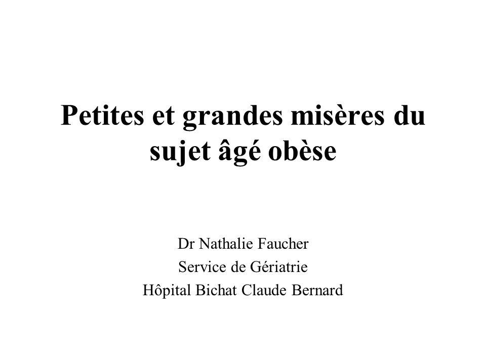 Petites et grandes misères du sujet âgé obèse Dr Nathalie Faucher Service de Gériatrie Hôpital Bichat Claude Bernard