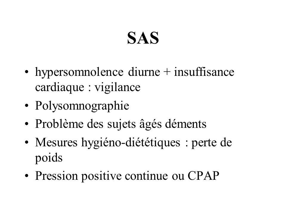 SAS hypersomnolence diurne + insuffisance cardiaque : vigilance Polysomnographie Problème des sujets âgés déments Mesures hygiéno-diététiques : perte