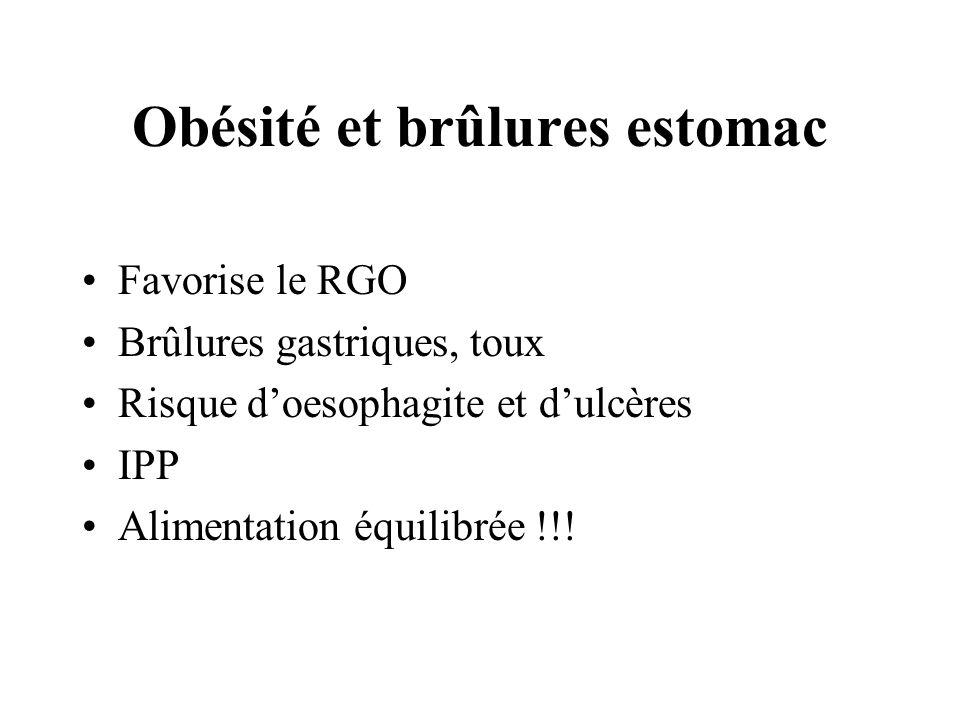 Obésité et brûlures estomac Favorise le RGO Brûlures gastriques, toux Risque doesophagite et dulcères IPP Alimentation équilibrée !!!