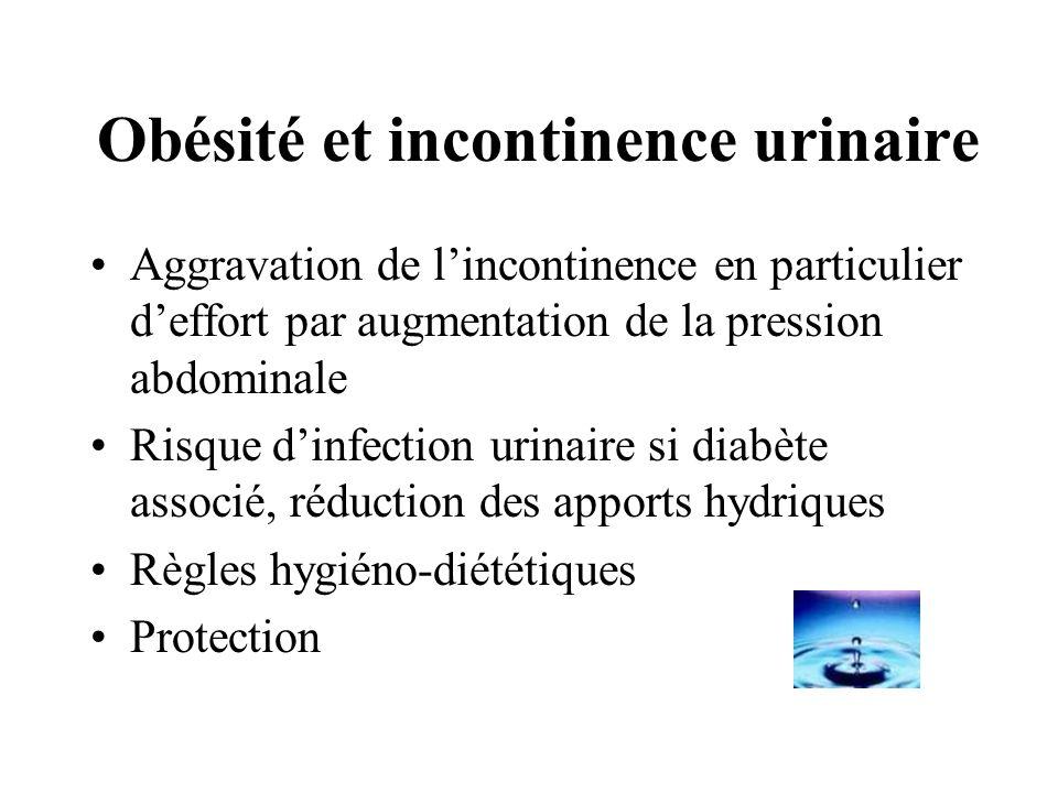 Obésité et incontinence urinaire Aggravation de lincontinence en particulier deffort par augmentation de la pression abdominale Risque dinfection urin